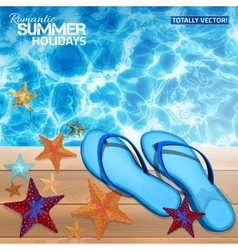 Summer background with blue flip-flops vector