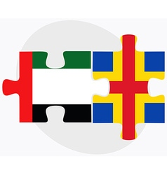 United Arab Emirates and Aaland Islands Flags vector image