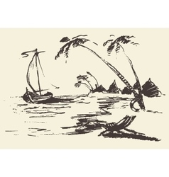 Drawn landscape seaside view beach boat vector