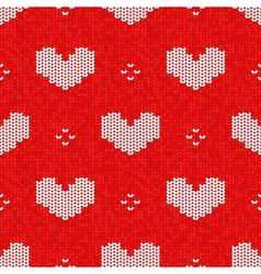 Knitted seamless pattern valentines day style vector