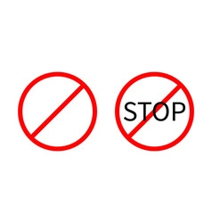 Prohibition no symbol red round stop warning sign vector
