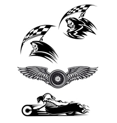 Black motocross mascot design vector image