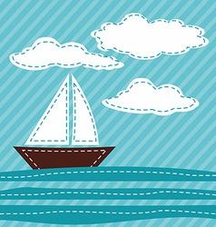 Cartoon sail boat patchwork vector