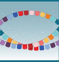 Colorful celebration flags and confetti vector
