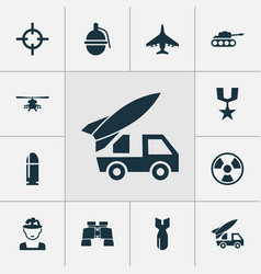 Combat icons set collection of panzer aircraft vector