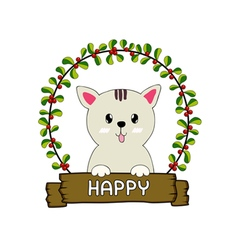 Cute cat in the red cherries round frame vector