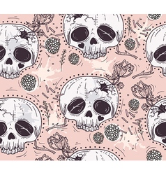 Cute tattoo style skull seamless patten vector