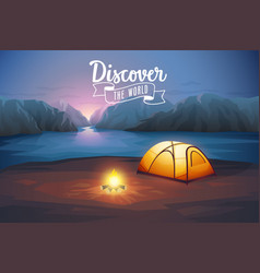 Discover the world poster night landscape with vector
