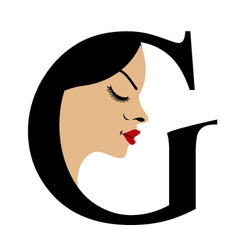 Faces in alphabet G- logo for skin tanning vector image vector image