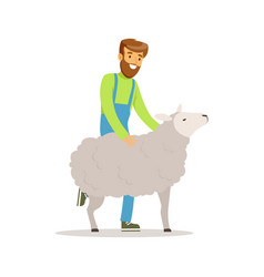 farmer man caring for his sheep farming and vector image