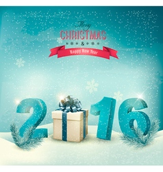 Festive background with 2016 numbers and a gift vector image vector image