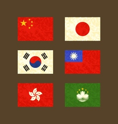Flags of China Japan South Korea Taiwan Hong Kong vector image vector image