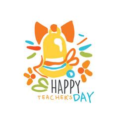 happy teachers day label original design vector image vector image