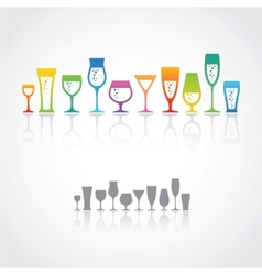 Icons of wine glasses vector image vector image