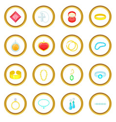 Jewelry items icons circle vector