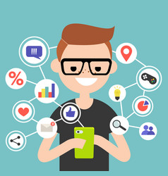 Millennial consuming online content on mobile vector
