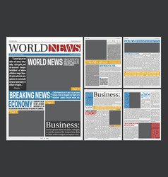 Newspaper headlines template realistic poster vector