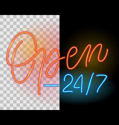 open 24 7 neon sign vector image