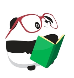 Panda reading book vector