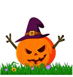 Scary pumpkin using hat vector