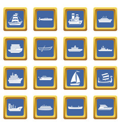 Sea transport icons set blue vector