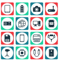 set of 16 computer hardware icons includes vector image