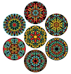 Set Of Brigh Circle Patterns vector image vector image