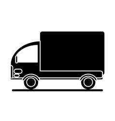 Silhouette truck mini delivery cargo vector