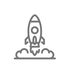 Simple rocket and spaceship line icon symbol and vector