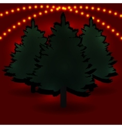 Three fir tree and their shadows for advertising vector