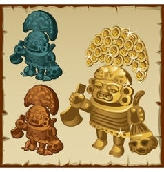 Three stone statue of mayan figures vector
