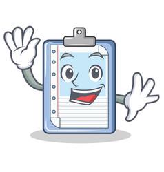 waving clipboard character cartoon style vector image