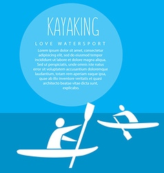 With signature kayaking love watersport vector