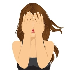woman covering her eyes with her hands vector image