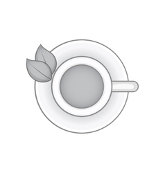 Herbal tea cup icon black monochrome style vector