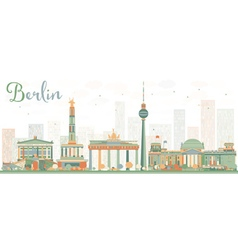 Abstract berlin skyline with color buildings vector