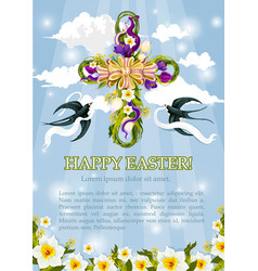 Easter crucifix cross of flowers poster vector
