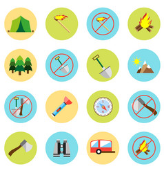 Icons picnic rest in the forest in a flat style vector