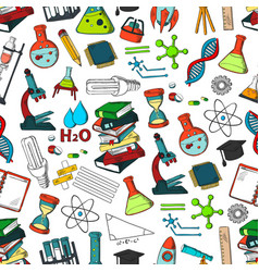 School or science items seamless pattern vector