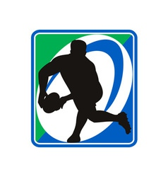 Rugby player passing ball vector