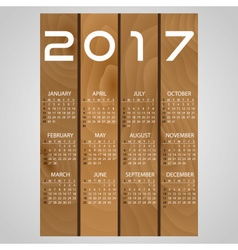 2017 wooden boards wall calendar with white eps10 vector
