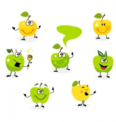 Cartoon apple characters vector