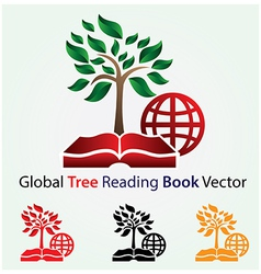 Global tree reading book vector