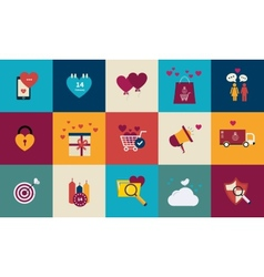 Flat design set for icons for valentines day vector