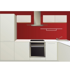 White and red kitchen with household appliances vector