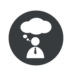 Monochrome round thinking person icon vector