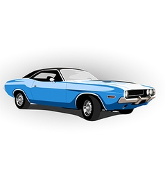 Blue classic hot car vector