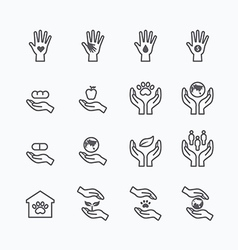 Charity and donation silhouette icons flat line vector