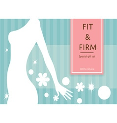 confident fit and firm woman shape banner or label vector image