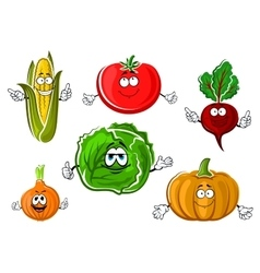 Happy autumnal vegetable cartoon characters vector